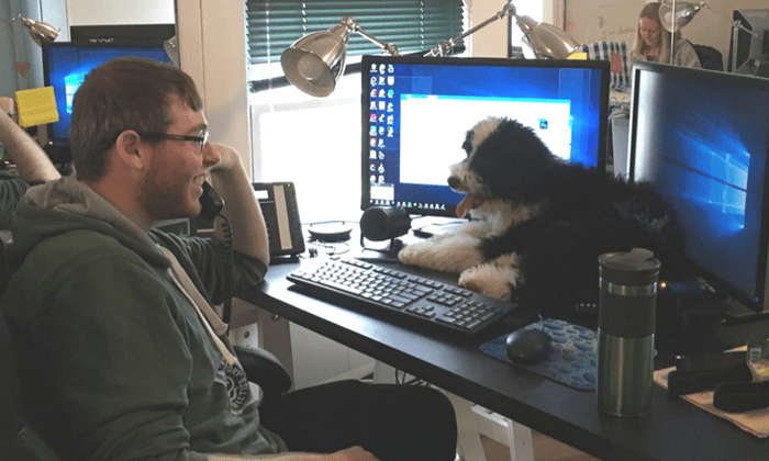 employee with his dog