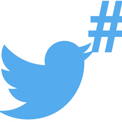 twitter bird logo and hashtag