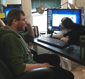 employee and his dog
