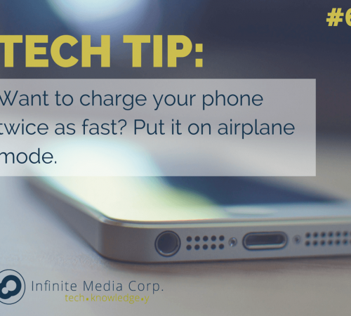 Tech Tip of the Week Want to charge your phone twice as fast? Put it on airplane mode