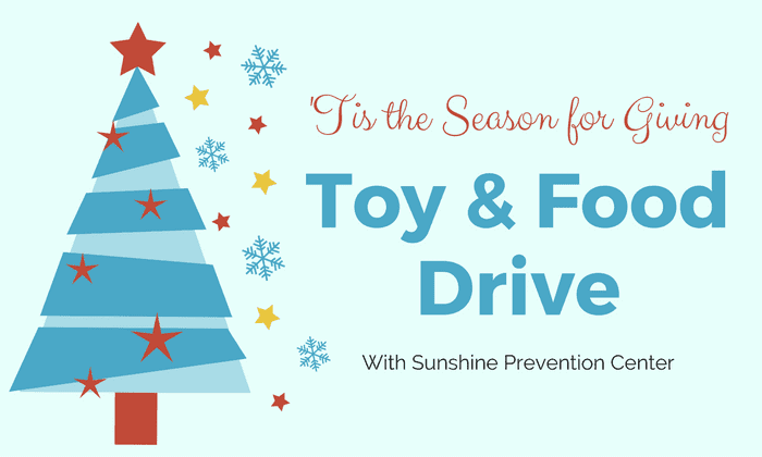 tis the season for giving toy and food drive with sunshine prevention center