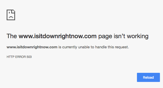 www.isitdownrightnow.com page isn't working