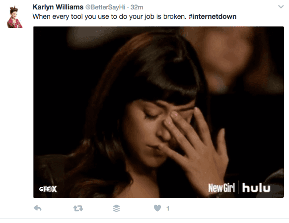 When every tool you use to your job is broken. #internetdown NewGirl GIF