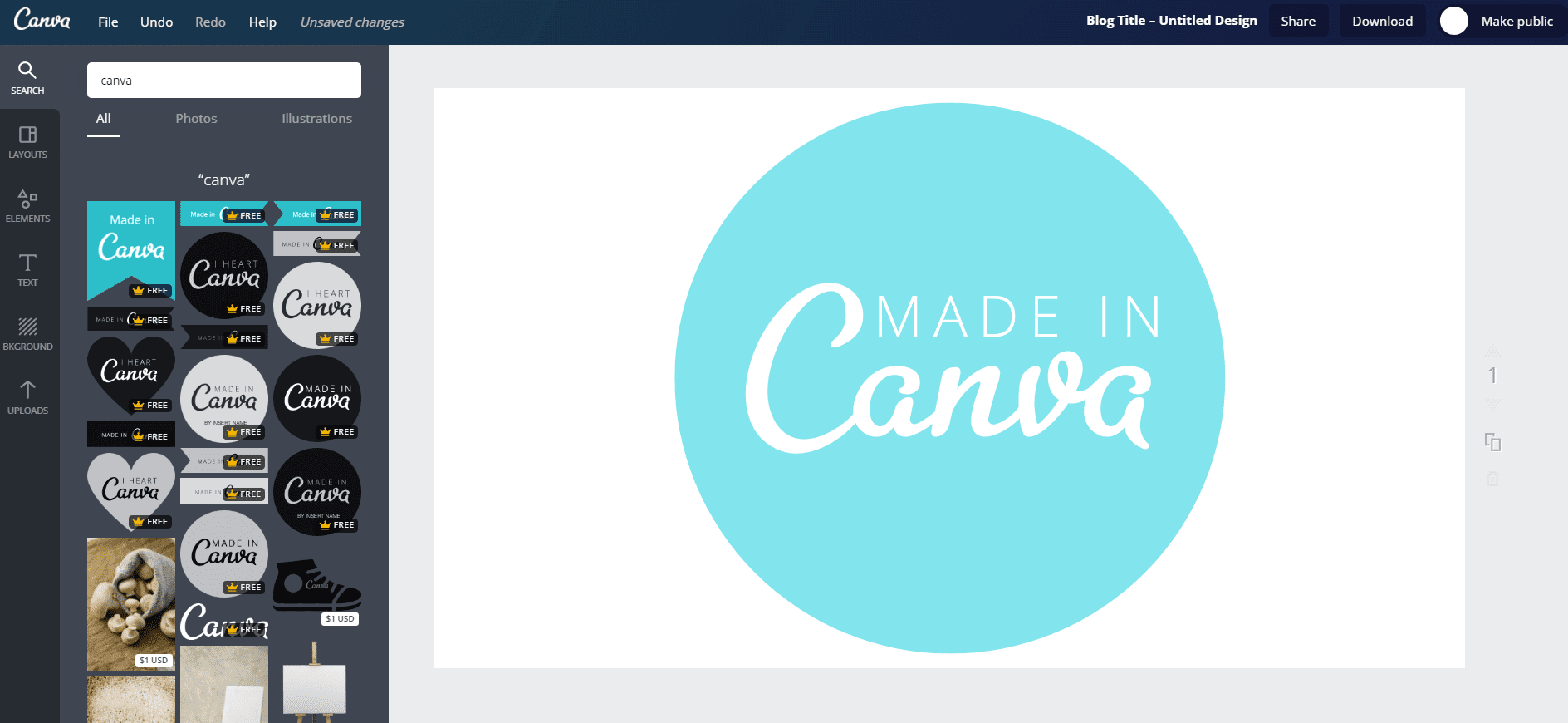example of creating a design in Canva photo editing and creation web tool