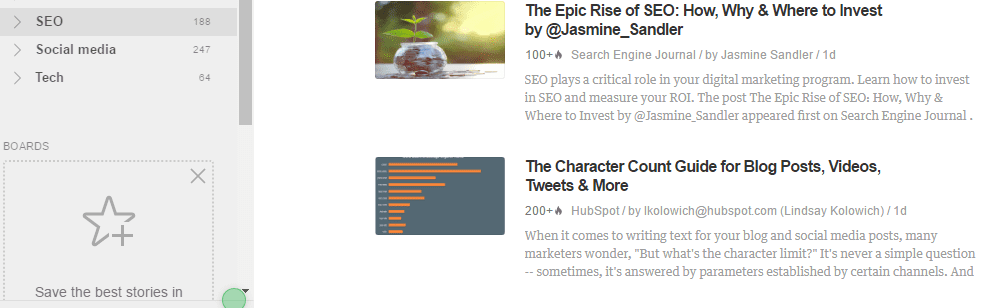 example of SEO news feed being followed on feedly