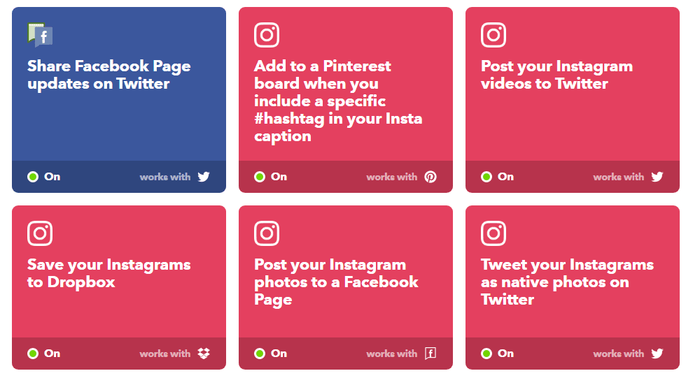 example of favorite instagram applets on ifttt
