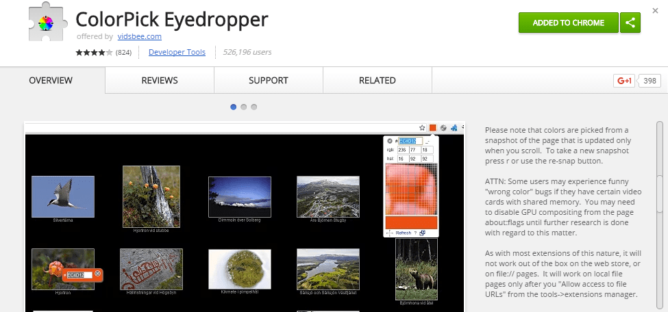 example of purchasing the color pick eyedropper in the chrome browser extension store